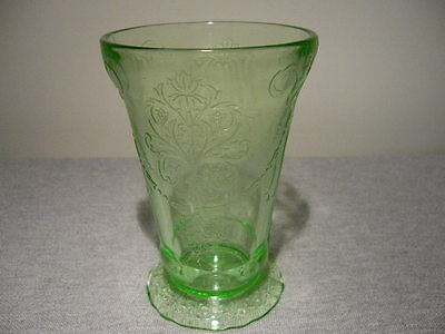 Belmont Glass Company Bowknot Green Depression Footed Tumbler