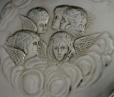 LARGE ART NOUVEAU STERLING SILVER REYNOLDS ANGELS TRAY 1910 W COMYNS 248g 11.5in