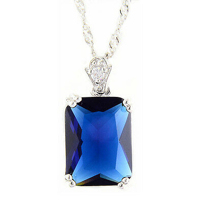 Brass Pendant Rectangle Blue Sapphire 18K White Gold Plated CZ Necklace Chain