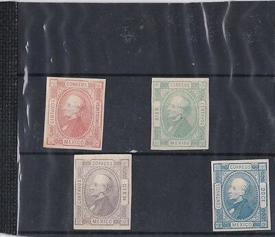 Nice Lot Of Four Early Mexco Hidalgo Type Imperf Stamps Hinged Mint 23*