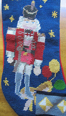 Needlepoint Nutcracker Soldier Christmas Stocking Completed Navy Background
