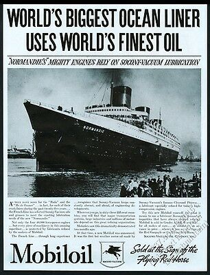 1935 SS S. S. Normandie ship photo Mobil oil vintage print ad