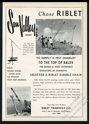 1957 Sun Valley ski area photo Riblet Tramway chairlift vintage print ad