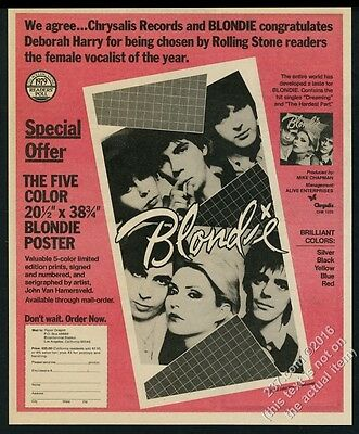 1980 Blondie photo Dreaming song release RS poster offer vintage print ad