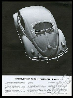 1960 VW Volkswagen Beetle 1958 car photo One Change Suggested vintage print ad