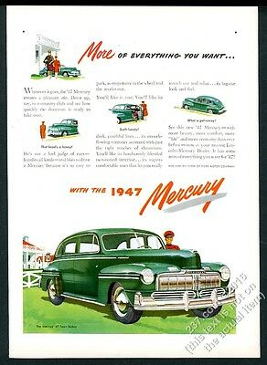 1947 Mercury Town Sedan green car color art vintage print ad