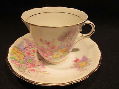 Colcolough Beautiful Vintage Tea Cup & Saucer #2579 Mauve Floral Garden