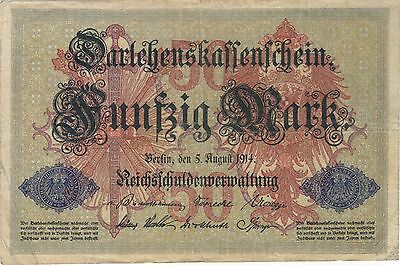 1914 50 Mark Germany Currency German Banknote Note Money Bank Bill Cash Wwi