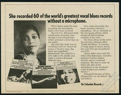 1971 Bessie Smith photo Empty Bed Blues album release vintage print ad