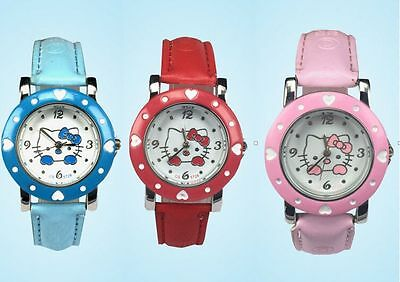 Girls Watch Hello Kitty Wristwatch Great Quality New Gift + Box Colour Options