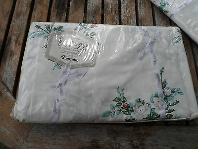 vintage WAMSUTTA SUPERCALE TWIN fitted sheet WHITE ROSE NIP