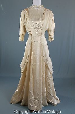 Antique Edwardian 1900s  Gibson Girl Silk Embroidered Wedding Gown Dress S M