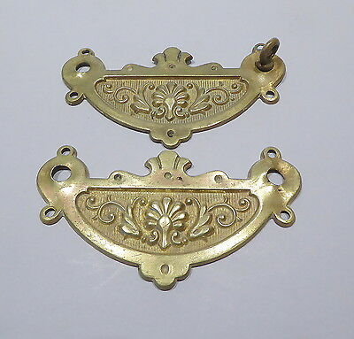 Pair of Vintage Reclaimed Solid Brass Back Plates for Drawer Handles etc