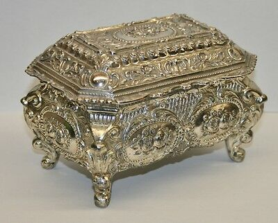 Vintage 1960's Japanese White Metal Music Casket/Musical Jewellery Box