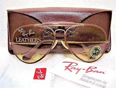 Ray-Ban Nos B&l Vintage Aviator Leathers 62-14 Super-Changeables *new Sunglasses