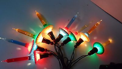 "8 Old 1940's NOMA C-6 ""FLYING SAUCER"" Bubble Lights w 8 Light Cord   Set #3"