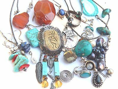 Vintage STERLING Silver Carnelian Stone Turquoise Charm SCRAP Jewelry Making Lot