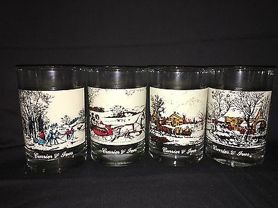 1981 Complete Set of 4 Currier & Ives Arby's Christmas Collector's Glasses NEAT!
