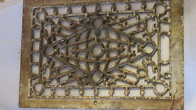 Antique Cast Iron Victorian Heat Grate Register Vent Architectural Scroll 16x11""