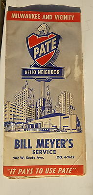 1955 Milwaukee street map Pate  oil gas oil can Bill Meyers Service