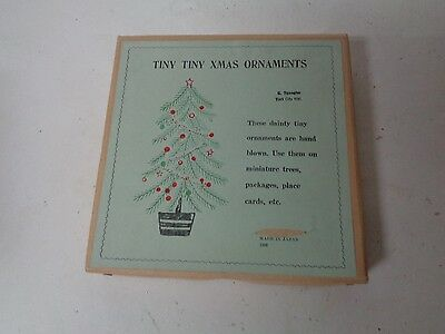 24 Tiny Tiny Glass Feather Tree Christmas Ornaments in Original Box