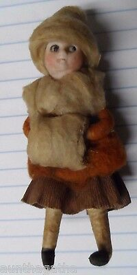 Old Germany Heubach Porcelain Face Cotton Christmas GIRL WITH MUFF - 4""