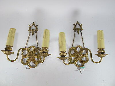 Pair of French Bronze Wall Sconces - 8967