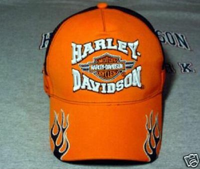 Harley Davidson Orange Flame Bar Shield  Hat