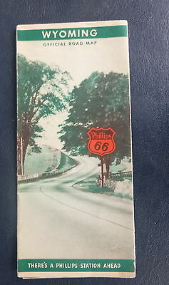 1939 Wyoming road  map Phillips 66  oil gas Yellowstone Park