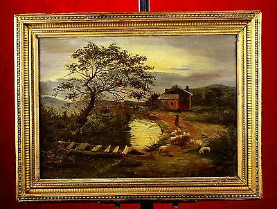Charles T Burt (1823-1902) Fine Late C19th Victorian Oil - Sheep by a Cottage