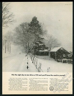 1967 VW Volkswagen Beetle classic car in snow photo vintage print ad