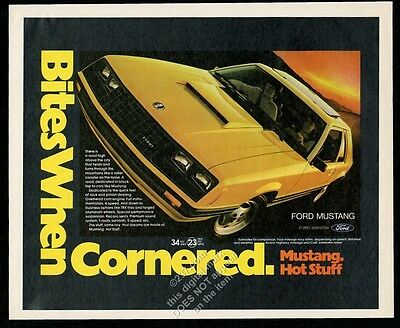1981 Ford Mustang yellow car photo vintage print ad