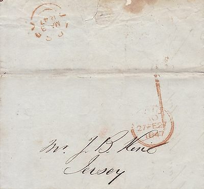 Jersey 1847 Entire London To Jersey, Red Cds