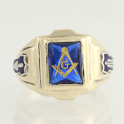 Blue Lodge Ring - 10k Yellow Gold Synthetic Blue Spinel Masonic