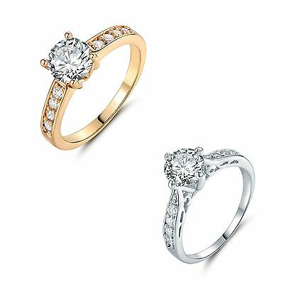 Round white Topaz Solitaire with Accents Eternity Ring Sz5-9 in 18k gold filled