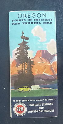 1946 Oregon road  map Chevron  oil gas