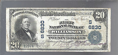 1902 $20 National Currency Note Large Size WILLIAMSON  WEST VIRGINIA 6830