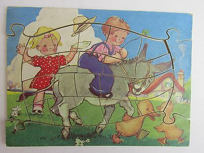 VINTAGE RARE mabel lucie attwell WOODEN JIGSAW PUZZLE OLD set KIDS TOY 158
