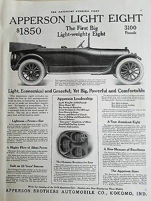 1915 Apperson Brothers Light Eight Convertible Touring Car  Original Ad