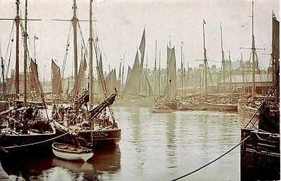 lowestoft , photographic postcard,busy harbour scene, trawlers, c1910 vgc