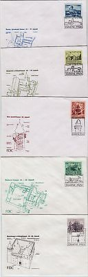 ESTONIA:  5 ANCIENT CASTLES ON STAMPS 1993-94 FDC-s