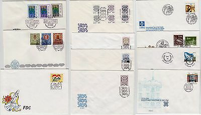 ESTONIA: 18  DIFFERENT STAMPS ON FDC-s 1993-1995