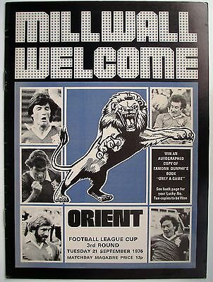 MILLWALL v LEYTON ORIENT LEAGUE CUP 76/77