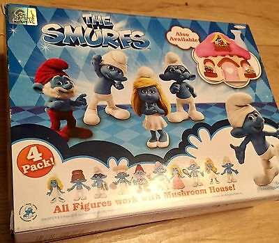 The Smurfs 4 Pack Brainy, Smurfette, Papa Smurf & Clumsy Movie Collectible Pack