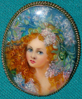 """""""Young Girl Spring"""" Russian Hand Painted Fedoskino Mother-Of-Pearl BROOCH"""