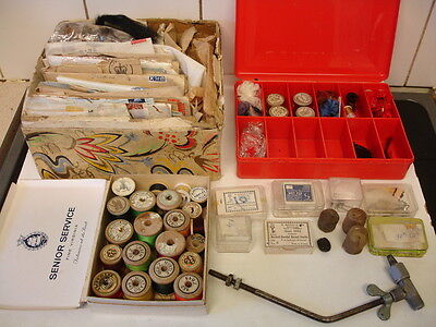 Vintage Fly Tying Equipment - 1940s - Cotton / Hooks / Feathers Etc
