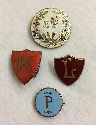 Vintage Initial Enamel Badges - EP, K, L & P - 3 are made by Fattorini