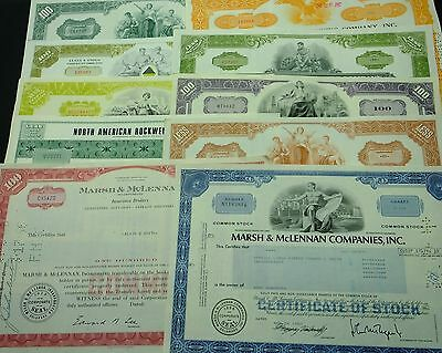 COLLECTION with 10 different U.S. Shares & Bonds Certificates LOT-16