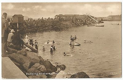Old Postcard 'Bathing at the Harbour' Portrush Co Antrim