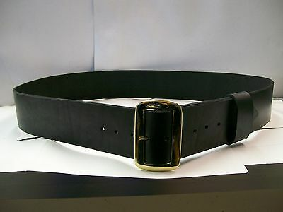 """Santa Claus All Leather 3"""" Wide Black Belt Locally Manufactured Made in USA"""